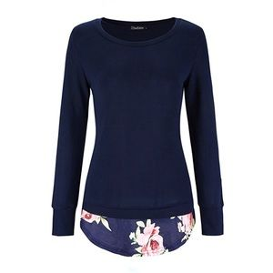 Navy long knit sweater top with floral hem NWT